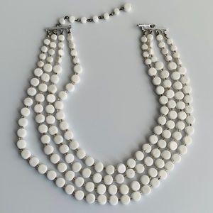 Vintage Multi Strand White Necklace